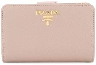 Prada Saffiano foldover snap wallet