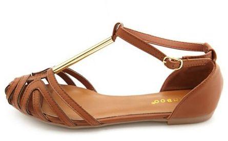 Charlotte Russe Caged T-Strap Flat Sandal