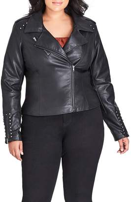 City Chic Simply Stud Faux Leather Jacket