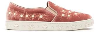 Aquazzura Cosmic faux-pearl embellished velvet trainers