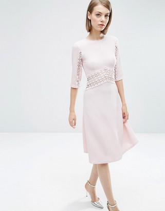 ASOS Lace Insert Midi Skater Dress $61 thestylecure.com
