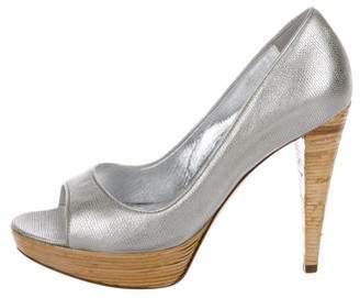 Sergio Rossi Metallic Peep-Toe Flats