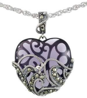 Lord & Taylor Marcasite Heart Pendant Necklace