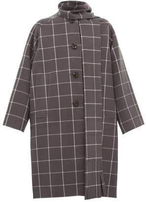 Marc Jacobs Oversized Windowpane Check Scarf Neck Wool Coat - Womens - Grey