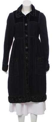 Anna Sui Faux Fur-Trimmed Long Coat