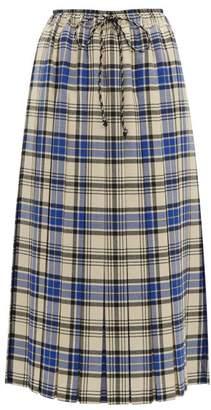 Shrimps Vesper Pleated Wool Plaid Midi Skirt - Womens - Blue Multi
