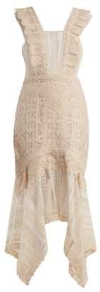 Jonathan Simkhai Handkerchief Hem Cotton Macrame Lace Dress - Womens - Cream
