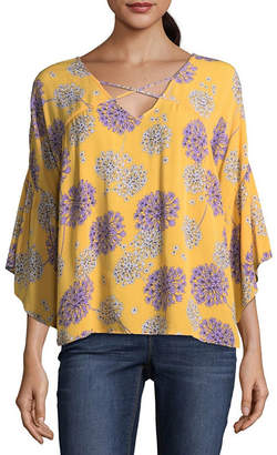 A.N.A 3/4 Sleeve Bell Sleeve Floral Peasant Top