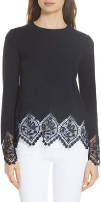 Ted Baker Aylex Lace Detail Wool Cashmere Blend Sweater