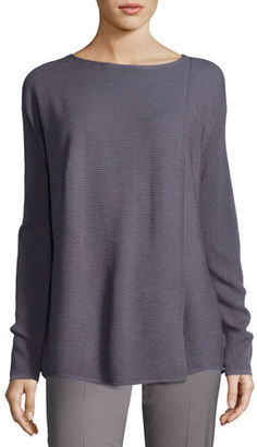 Lafayette 148 New York Soapstone Asymmetric Fine-Gauge Sweater $398 thestylecure.com
