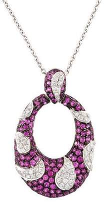 18K Diamond & Ruby Pendant Necklace