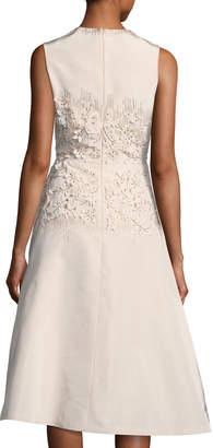 Lela Rose Embroidered Jewel-Neck Dress