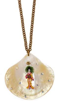 Gucci Crystal Embellished Shell Necklace - Womens - White