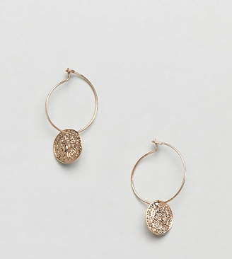Missguided mini coin drop hoops in gold