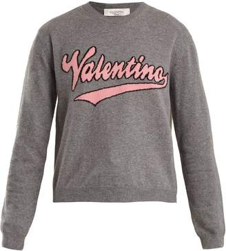 Valentino Logo-intarsia wool and cashmere-blend sweater