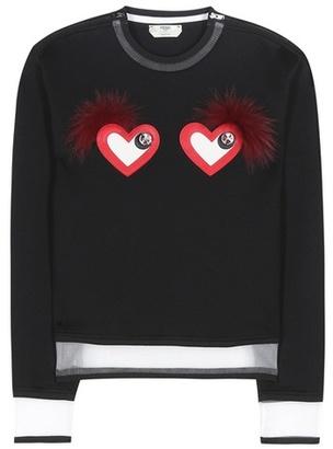 Leather and fur-embellished sweatshirt