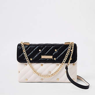 River Island White contrast pearl quilted cross body bag