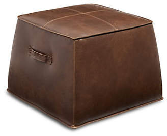 DISTINCTLY HOME Brock Leather & Wood Cube Ottoman