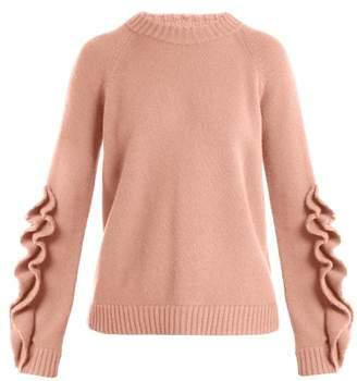Redvalentino - Ruffle Trim Wool Sweater - Womens - Nude