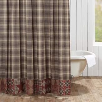Ashton & Willow Woodland Brown Rustic & Lodge Bath Brickston Rod Pocket Cotton Button Holes for Shower Hooks Patchwork Star Shower Curtain