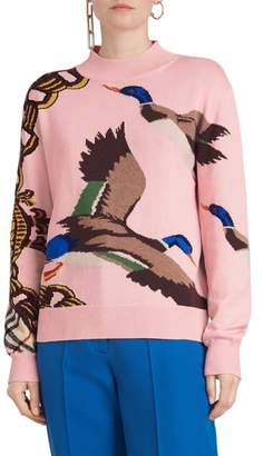 Burberry Deckers Intarsia Duck Cotton Blend Sweater