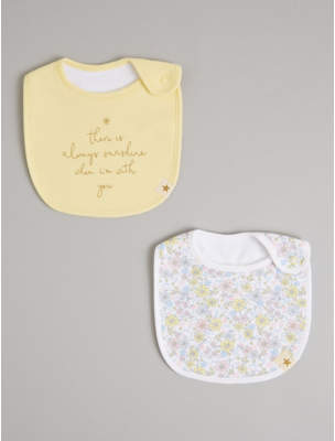 George Billie Faiers Yellow Floral and Slogan Bibs 2 Pack