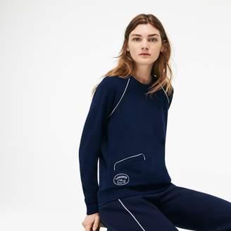Lacoste Women's Crew Neck Piped Crepe Fleece Sweatshirt
