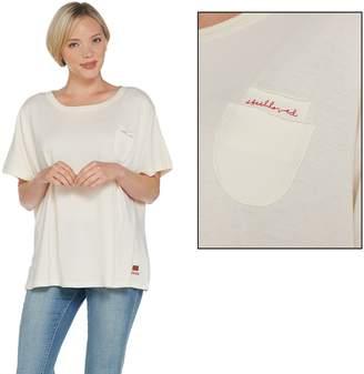 Peace Love World Short Sleeve Dolman Tee w/ Chest Pocket