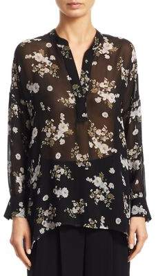 Vince Tossed Floral Shirred Silk Blouse