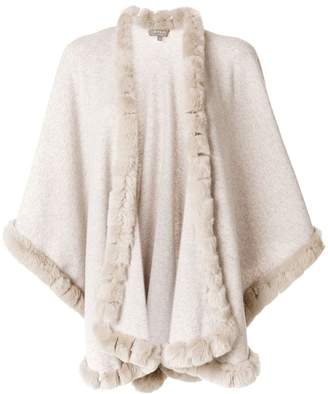 N.Peal fur trimmed cashmere cape