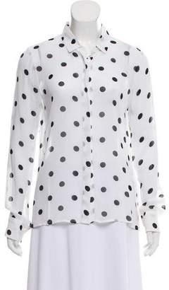 Reformation Polka Dot Sheer Button-Up