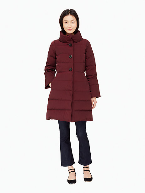 Jewel button puffer coat