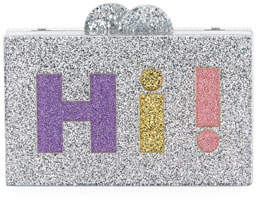 Bari Lynn Girls' Hi/Bye Glittered Acrylic Box Clutch Bag
