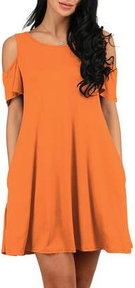 OMZIN Women Casual Cold Shoulder Tunic Top T-Shirt Swing Dress with Pockets M