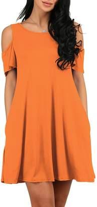 OMZIN Women's Ruffle Sleeve Pockets Casual Swing T-Shirt Dresses Tank Dress Grey L