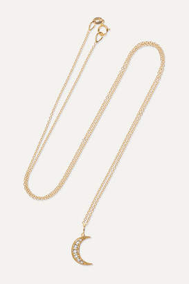 Andrea Fohrman Crescent Moon 18-karat Rose Gold Diamond Necklace
