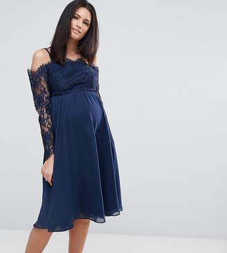 Asos Occasion Cold Shoulder Lace Midi Dress