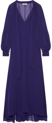 Lanvin - Pussy-bow Silk-chiffon Maxi Dress - Indigo $3,855 thestylecure.com
