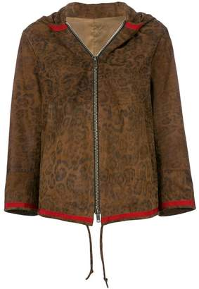 Sylvie Schimmel leopard print hooded leather jacket