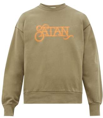 Aries Satan Print Cotton Sweatshirt - Mens - Green
