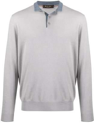 Loro Piana contrast long-sleeved knit top