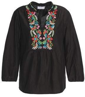 Velvet by Graham & Spencer Embroidered Cotton And Silk-Blend Blouse
