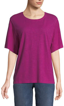 Eileen Fisher Short-Sleeve Hemp-Cotton Twist Top
