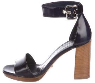 Prada Patent Leather Ankle Strap Sandals