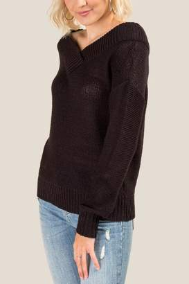 francesca's Kallista V Neck Sweater - Black
