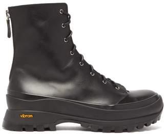 Jil Sander Trek Sole Leather Hiking Boots - Womens - Black