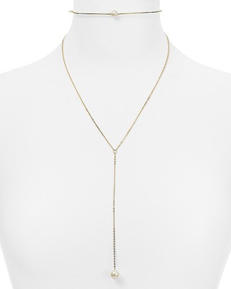 "AQUA Gigi Simulated Pearl Lariat Collar Necklace, 13.5"" - 100% Exclusive $32 thestylecure.com"
