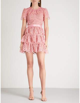 Self-Portrait Tiered lace mini dress