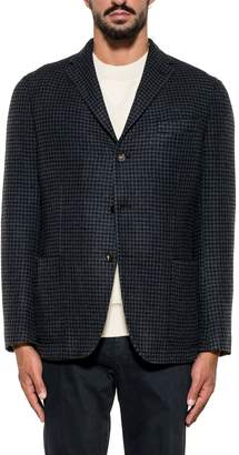 The Gigi Blue/black Pied De Poule Wool Blazer