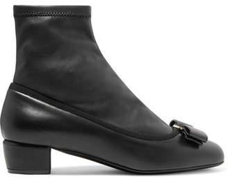 Salvatore Ferragamo Vara Bow-embellished Leather Sock Boots - Black